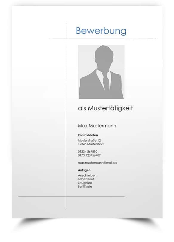 Deckblatt Muster Moderne Bewerbungsvorlage Word