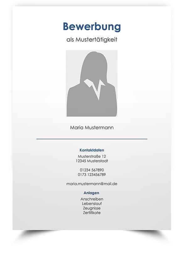 Professionelles Bewerbungsdesign für Deckblatt in Word