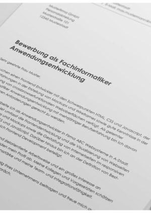 Bewerbung als Fachinformatiker Anwendungsentwicklung Detail
