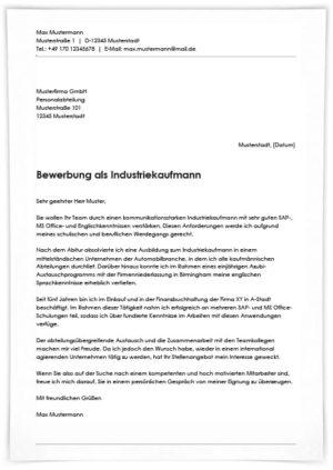 Bewerbung als Industriekaufmann