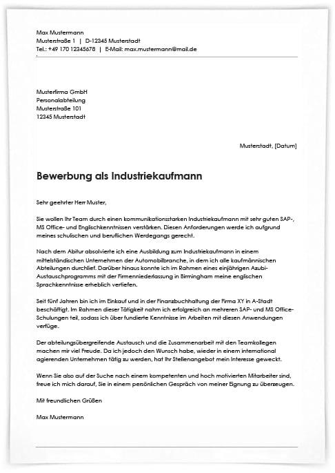 Bewerbung Industriekaufmann Abgebrochene 5