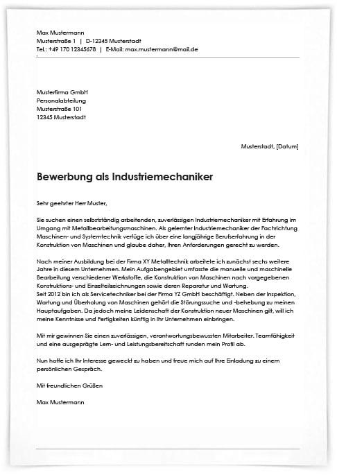 Industriemechaniker Bewerbung