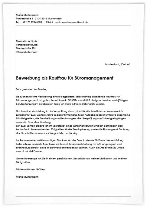 ᐅ Bewerbungsschreiben Kaufmann Frau Fur