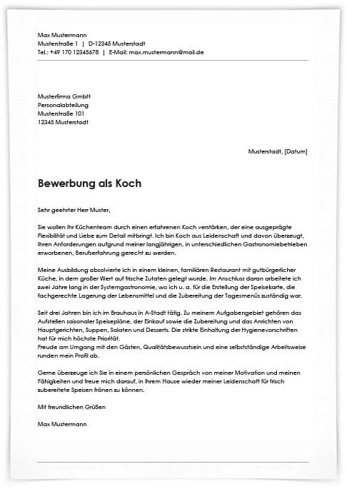 Bewerbung Schreiben Koch Kochin Ausbildungspark Verlag 1