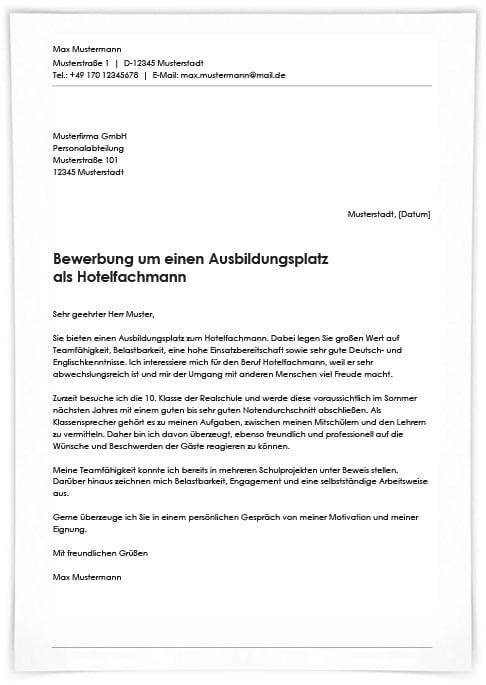 Bewerbung Hotelfachfrau Hotelfachmann Anschreiben 9