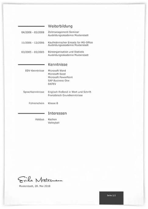 Lebenslauf Muster 1 Seite 2