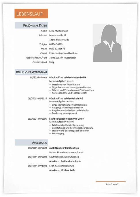 Der Perfekte Lebenslauf Aufbau Tipps Und Vorlagen 10